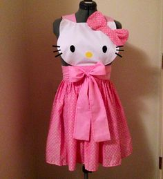Hello kitty apron, so cute!  character dress up apron, great DIY craft sewing easy costume idea