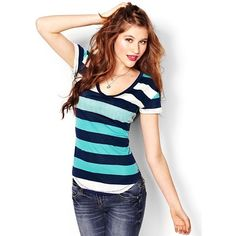 Striped V-Neck Jaspé Tee - Tees - Garage ❤ liked on Polyvore featuring tops, t-shirts, striped t shirt, striped top, blue striped top, blue striped t shirt and stripe top