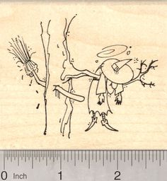 Halloween Witch Rubber Stamp, Broom Crashed into Tree (K25416) $12 at RubberHedgehog.com