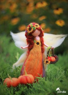 Autmn waldorf naald vilten fairy wol voelde door PETRUSKAfairyworld