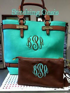 Check out Monogrammed Purse Bag Tote Mint or Coral on stitchingoasis Monogrammed Purses, Monogram Tote, Mature Women Fashion, Garment Bags, Luggage Bags, Tote Bags, Monogram Styles, Leather Bag, Vegan Leather