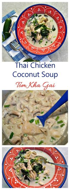 This Thai Chicken Coconut Soup is sweet salty sour and spicy all in one spoonful. It is also known as tom kha gai. Chicken Coconut Soup, Thai Coconut Soup, Thai Chicken, Healthy Soup Recipes, Bean Recipes, Healthy Cooking, Paleo Soup, Chowder Recipes, My Best Recipe