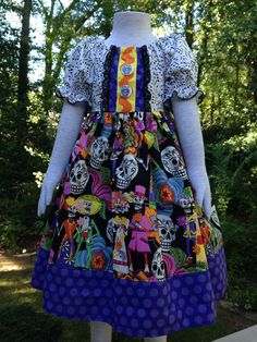 Size 5t....Day of The Dead Dress.....Made and ready to be shipped! by LevonaDanielle on Etsy
