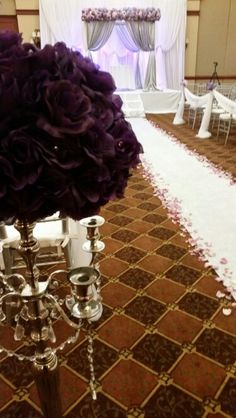 Hues of purple and silver ceremony decor more details by #teambeautifulkreations