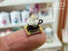 :: Crafty :: Clay :: Bakery :: Cream-Filled Chocolate Cup Cake French Pastry by ParisMiniatures