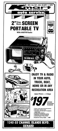 Color Television, Portable Tv, Newspaper Advertisement, Old Technology, Tv On The Radio, Cameras, Weird, The Past, Retail