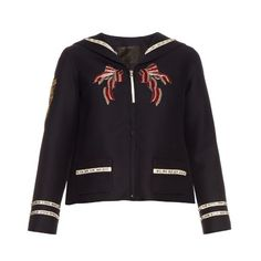 Marc Jacobs Embellished wool and silk-blend jacket (€3.425) ❤ liked on Polyvore featuring outerwear, jackets, navy, wool jacket, marc jacobs, embellished jacket, woolen jackets and nautical jacket