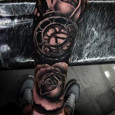 Omega Blackwork Clock And Roses Realistic 3D tattoo by Da Ink