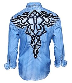 Men's Roar Stabilize Long Sleeve Button Down Shirt Blue