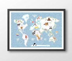 Childrens world map world map poster teal wall art wm302a boy world map for kids nursery prints wm603 size a1 a2 a3 a4 world map art print kids wall decoration world map poster gumiabroncs Gallery