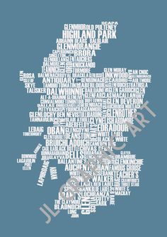 Whisky Map of Scotland  Art Print by JLGraphicArt on Etsy