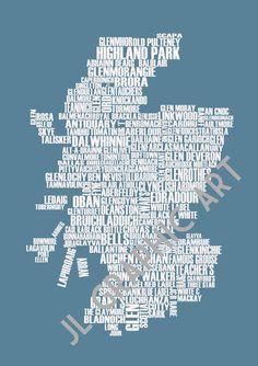 Whisky Map of Scotland - Art Print on Etsy, $24.07