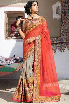 Red Color Designer Wedding Bridal Lehenga Saree From Skysarees.