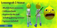 Love Adventure Time? Now you can role play as your favorite character! With two different expressions and 5 gestures (made by Vixykins), you can run around letting everyone know how UNACCEPTABLE and ALL YOUR FAULT everything is! Wear yours with a friend who bought the Classic Lemongrab for more fun!