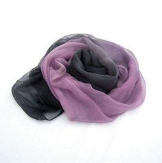 Silk scarf hand painted scarf ombre scarf women by HEraMade #luxuryscarf #ombresilkscarf #ombrescarf #silkscarf #ombre #ombrepinkblack #pinkblack #elegantscarf #diva #forwomen