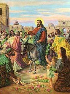 "Matthew 21: 1-11 Palm Sunday - Jesus' triumphant entry into Jerusalem amid joyous shouts of ""Hosanna!"" and the waving of palm branches."
