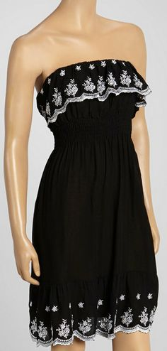 Black Ruffle Embroidered Strapless Dress