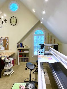 Rebecca Grace Quilting: Studio Tour: Let There Be Light! And Also, Thread! Upgrades From My Sweetie Oak Shelves, Shelving, Be Light, Touch Up Paint, Quilting Rulers, Sewing Studio, Small Quilts, Sloped Ceiling, Machine Quilting
