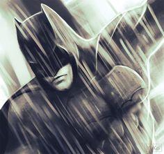 Batman #batman#bruce_wayne#justice_league#DC_comics#fanart#batman_fanart#rain#monochrome#digital_portrait#digital_art #hero#comics