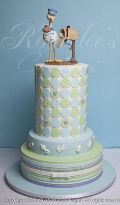 Baby shower cake can be adaptable to christening with name of child