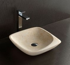 Above Counter Natural Limestone Square Basin 'Maya' in Matt Finish For Modern Luxury Bathrooms By Nova Deko