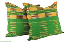 2 Kente Cloth Pillows Green African 22 x 22 inch