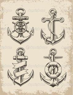 Baixar - Conjunto de ancoragem de mão desenhada — Ilustração de Stock #44111073