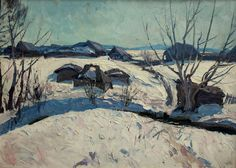 1893 - 1972 March snow Oil on canvas 50 x 70cm 1960's - See more at: http://www.russianartdealer.com/galleries/russian-art#sthash.HdTGfZC4.dpuf