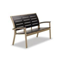 Telescope Casual Bazza Marine Grade Polymer/Aluminum Bench Finish: Textured Beachwood, Seat Finish: Red