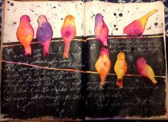Color splashed on black, and journaling in white ink--wow!