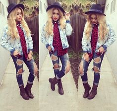 Blouse, jacket, ripped jeans, hat and boots.