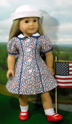Red White and Blue 30's/40's Dress for AG Dolls by SugarloafDollClothes on Etsy  $65.00