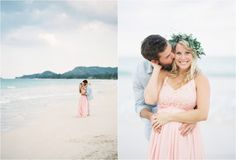 Without the flowers - color palette. She wears pink, he wears light blue.