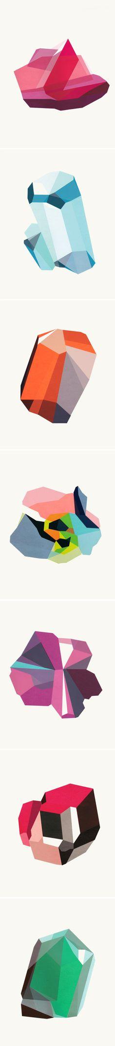 """like like like """"birthstones"""" ... hand-pulled screen prints by elisa werbler"""