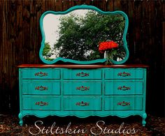 Distressed Rustic Turquoise French Provincial Triple Dresser Mirror