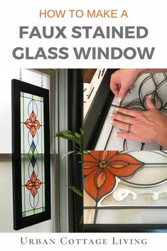 How to make a faux stained glass window with step by step directions. Stained Glass Paint, Making Stained Glass, Stained Glass Projects, Stained Glass Patterns, Stained Glass Windows, Painting On Glass Windows, How To Do Stained Glass Diy, Glass Painting Patterns, Mosaic Patterns