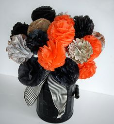 How to Make a Halloween Bouquet Tissue Paper Flowers Tutorial