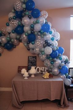 Airplane first birthday party, Luft Balloon Store, balloon arch, blue, pinterest inspiration, confetti balloons, birthday party decorations, toentertain, to entertain