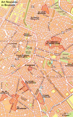 map of art nouveau in brussels