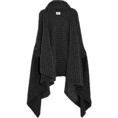 Acne Studios Alan ribbed-knit wrap cardigan ($430) ❤ liked on Polyvore featuring tops, cardigans, jackets, dark gray, ribbed knit cardigan, wrap top, oversized cardigan, ribbed knit top and wrap cardigan