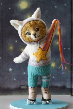 :: Crafty :: Doll :: Animalia ::  felt cat