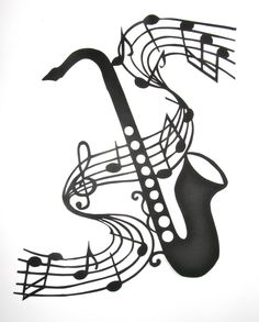 Saxophone and Music Notes - GRADUATION Gift Black Silhouette Paper Cut 4 Music Lovers Wall and Home Décor Handmade Framed One Of A Kind - strumenti musicali - Music Notes Decorations, Music Decor, Art Music, Black Art Painting, Note Tattoo, Music Symbols, Music Drawings, Notes Design, Black Silhouette