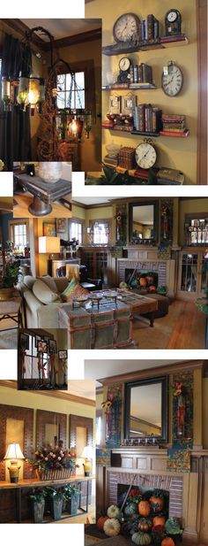 Bachman's Fall Idea House, all those pumpkins in the fireplace-too cute