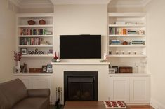 shaker cupboards - ideal for loungeroom Fireplace Bookcase, Fireplace Set, Fireplace Built Ins, Living Room With Fireplace, Bookshelves, Built In Cupboards, Built In Shelves, Shaker Cabinets, Family Room