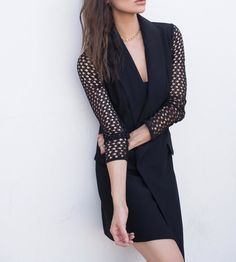 The 8th Sign Tuxedo Dress With Mesh Sleeves at Thoughtful Misfit Store | Lookave #dress #black #blackdress #meshsleevesdress #minidress @thoughtfulmisfit @asos #ootd #onlineshopping #lookave #onlineshopping #streetstyle #style #fashion #outfit