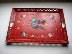 LARGE 1940s Tole Tray Dramatic RED Hand by TallTimberAntiques, $24.00