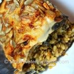 Spicy Rice & Quinoa Bake with Layered Eggplant & Cheezy Topping