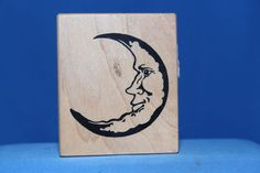 RARE Crescent Man in the Moon Home Decor PSX G-1785 Wood & Foam Rubber Stamp     http://autopartspuller.com/ Great Sale 50% off entire store!! Copper, Glassware, Wood Crafts, Scrap Booking