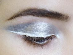 Silver eye makeup with white eyeliner; haute couture make up // Dior