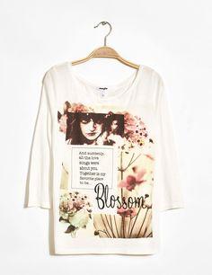 Tee-shirt loose fleuri écru femme • Jennyfer